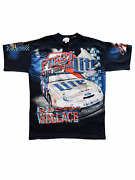 Rusty Wallace All Over Feel The Thunder Miller Lite Vintage T-shirt