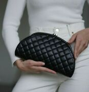 Verified Authentic Black Quilted Leather Timeless Clutch Bag