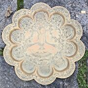 Old Vintage Decorative Elaborately Engraved Middle Eastern Brass Tray Wall Art