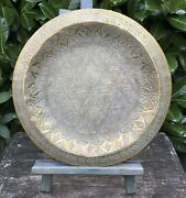 Old Vintage Decorative Elaborately Engraved Middle Eastern Brass Tray Dated 1978