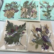 Unique Set Of 5 Handmade Greeting / Gift / Note /cards W/ Real Dried Flowers Wow