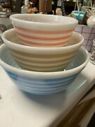Pyrex Rainbow Stripe 3pc Mixing Bowl Set, All Light Blue 401, 402 And 403