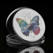 Colourful Butterfly Change Is The Essence Of Life Silver Plated Gift Coin