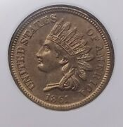 1861 Indian Cent Ngc Ms 62 Civil War Year Uncirculated