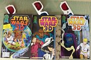 Star War 3-d, 3 Book Lot , 1-3 Blackthorne 1987-8, All With 3-d Glasses, Nice