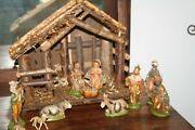 Vintage Italy Nativity Set W/11 Figures And Creche, Hand Painted Excellent Set