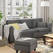 Living Room Sofa Set Grey Sectional Sofa With Chaise Fabric Sofas Couch L-shaped