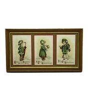 Christmas Greeting Postcards Children Boy Girl 13andrdquo X 7.5andrdquo Antique L800s Framed
