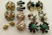 Vintage Clip On Earring Sets Silver Gold Tone Costume Jewelry Rhinestones Star