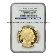 2007-w 50 Buffalo Ngc Pf70ucam Early Releases American Gold Ultra Cameo Proof