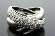 Alfieri And St. John Diamond Ring 18k White Gold Crossover Band Moving Rolling