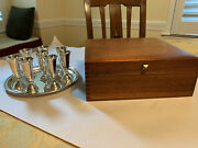 Randahl Sterling Silver Cordial Cups With Tray And Wooden Chest