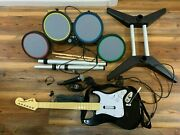 Xbox 360 Rock Band 2 Total 822149 Wired Drum And 822152 Guitar Untested
