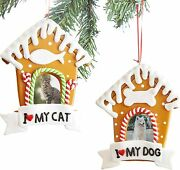 [2-pack] I Love 3 My Cat And Dog Personalized Photo Ornaments For Christmas Tree