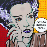 Thru With His Type By Mike Bell Bride Of Frankenstein Wood Framed Fine Art Print