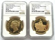 China 1996 Great Birtain Una And Lion Gold Coin Ngc Pf68 Set Of 2 Medals,proof