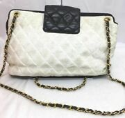 Quilted Bicolor Wchain Shoulderbag Leather Canvas White Black Ladies Auth