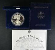 1995 P American One Ounce Proof Silver Eagle 1 W/coa And Ogp