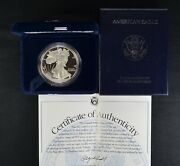 1996 P American One Ounce Proof Silver Eagle 1 W/coa And Ogp