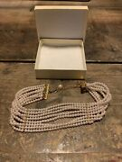 Women's Faux 8 Tier Pearl Beaded Gold Necklace Choker Adjustable Costume Jewelry