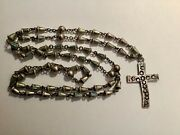 """Vintage Navajo 61 Sterling Silver Beads W / Turquoise Enamel 35"""" Rosary Necklace"""