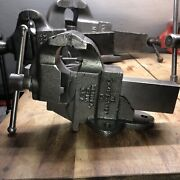 """Chas. Parker 953-1/2 Bench Vise 3-1/2"""" Jaws 36 Lbs Good Condition"""