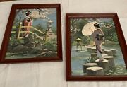 Set Of Two Vintage 1960s Japanese Geisha Paint-by-numbers