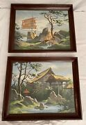 Set Of Two Vintage 1960s Asian Landscape Paint-by-numbers