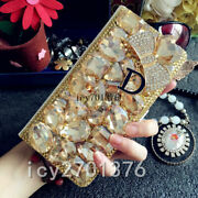 For Iphone 12 11 X Xs Max Jewelled Bling Crystal Leather Wallet Flip Case Cover