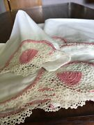 """Vintage Hand Pink Crochet Italian Lace Flat Sheet And 2 Pillowcases. 74""""x108"""".07"""