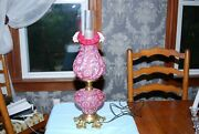 Vintage Fenton Cranberry Daisy And Fern Gone W/ Wind Lamp Fluted