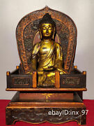 19china Old Lacquerware An Old Bronze Statue Of Sakyamuni In The Buddhist Altar