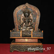 19.2 China Old Lacquerware An Old Bronze Seated Tara Statue In A Buddhist Altar