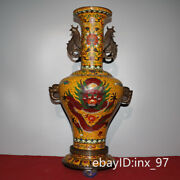 23.6 China Old Collection Old Pure Copper Double Beast Ears Flower Mouth Bottle