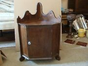Antique Wooden Wall Corner Cabinet Cupboard Scalloped Ends And Painted Interior