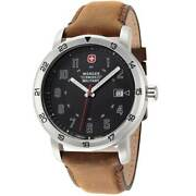 Wenger Menand039s Watch Roadster Racer Black Dial Brown Leather Strap 01.9041.221s