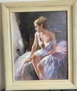 1970s French Italian Impressionist Oil Painting Of Semi-nude Lady Signed Pina