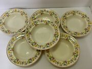 Scammell China Sce6 Rim Soup Bowls Wildflowers America 8-1/4andrdquo Set Of 6
