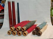 Vintage Antique Wooden Spool Spindle Bobbins With Wool Yarn/10 With Yarn
