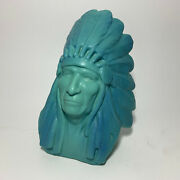Van Briggle Pottery 1979 Bust Of Native American Indian Chief Two Moons