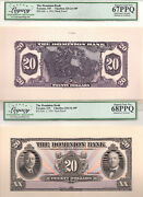 ✪ 1931 20 The Dominion Bank - Canada Face Back Proof - 67 + 68 Ppq