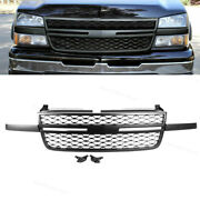 Grille Front Upper Black Fit For 2005 2006 2007 Chevy Silverado 1500 2500hd 3500