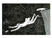 Man Chases Postcard Off Cliff In Thunderstorm By Edward Gorey - Large Postcard