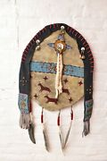 Native American Northern Plains Indian Ceremonial Shield Beaded Painted Leather