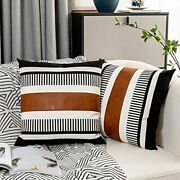 2 Pack Farmhouse Throw Pillow Covers For Couch Sofa Decorative Faux Lea
