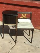 Vintage Gossip Chair Phone Table Wood Bench
