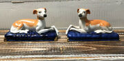 Vintage Pair 2 Staffordshire Style Greyhound Whippet Dog Mantel Figurines Pillow