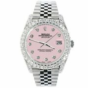 Rolex Datejust 41mm 5.9ct Bezel/lugs/sides/orchid Pink Dial 126300 Box Papers