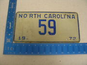 1972 72 North Carolina Nc License Plate 59 Low Two Digit Number Awesome Tag