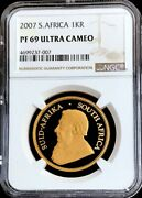 2007 Gold South Africa 1 Oz Krugerrand Ngc Proof 69 Ultra Cameo Mintage 3,400